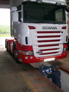 Truck undergoing servicing